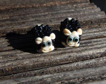 Black Sheep  Lampwork Bead Pair, Simply Lampwork by Nancy Gant, SRA G55