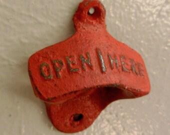 Shabby Chic, Retro style cast iron bottle opener Apple Red, Christmas gift, Bridal Gift, Historical, Wedding gift