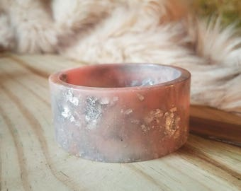 Silver Grey and Pink Resin Cuff Bangle