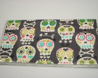 Checkbook Cover , Holder -Bone Head Gray Sugar Skull