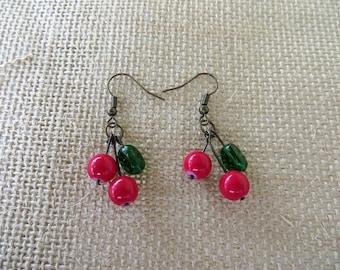 Cherry Beaded Drop Earrings