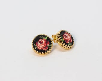 Tiny Roses Earrings - Needlepoint Mini Studs - Floral Earrings - Cottage Chic - Red Rose On Black - Petit Point Hand Embroidery Pattern
