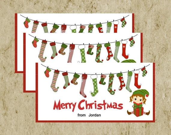 Christmas Treat Bag Topper/ DIY Printable/ Merry Christmas Elf