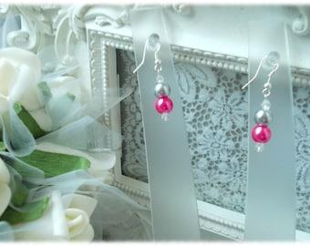 Wedding Pearl glass gray/fuchsia swarovski earrings