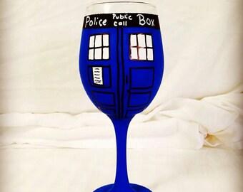 Tardis Inspired Hand Painted Wine Glass.