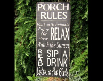 Signs, Porch Rules, Rustic, Lake, Home Decor, Hand-painted, Wood Signs, Cabin, Typography, Custom Signs