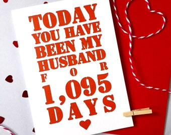 Days You've Been My Husband Card – Personalised Anniversary Card – Card for Husband – birthday card for husband – Christmas card for husband