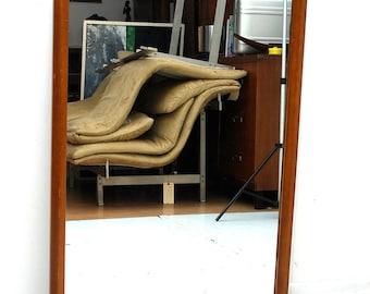 Mid Century Modern Wall Hanging Mirror, Wood Frame