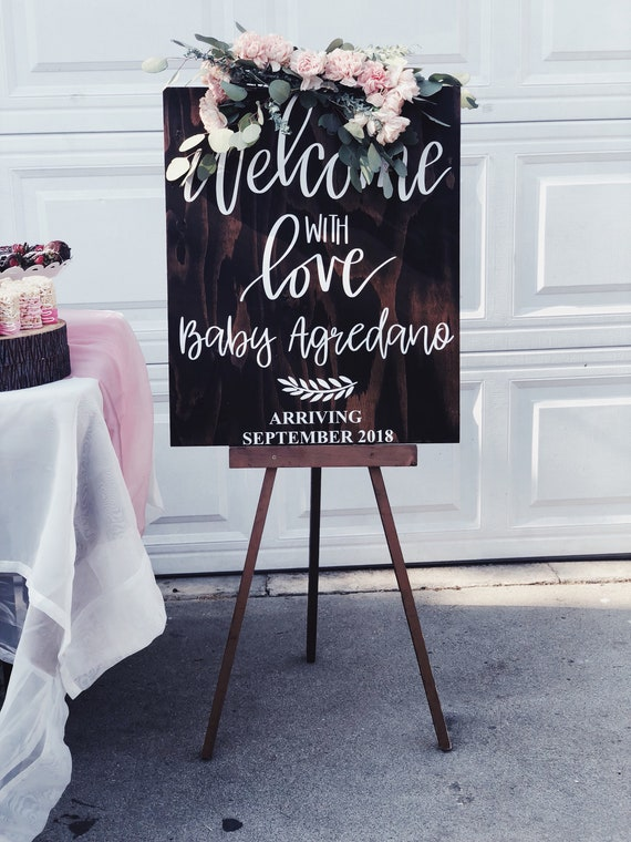Baby Shower Welcome with love sign   welcome sign with baby   welcome sign baby shower
