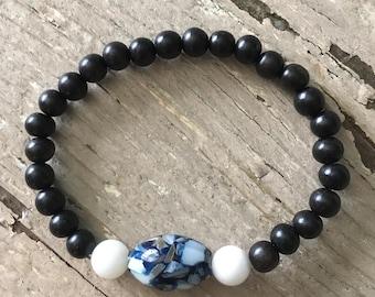 Black Ebony Wood Mala Bead Bracelet with White Jade and Blue Black Gray White Mother of Pearl