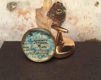 Custom Solid Bronze Map Cufflinks / Brother Gift / Boss Gift / Man Anniversery gift / Boyfriend Birthday Gift