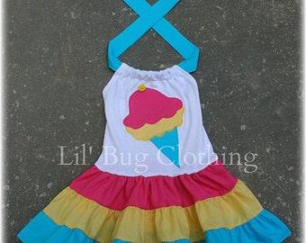 Ice Cream Cone Girls Dress, Ice Cream Cone Birthday Party Dress, Ice Cream Cone Summer Dress, Ice Cream Cone Outfit