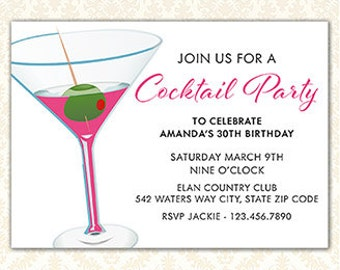 Cocktail Party Invitation, Adult Pink BIrthday Party Invite, Printable Martini Invitation, Any Event, Your Words, Digital File