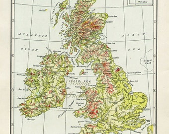 1940s Great Britain Map - antique atlas page - original map of  Ireland England Scotland regions