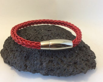 red leather and stainless steel industrial bracelet
