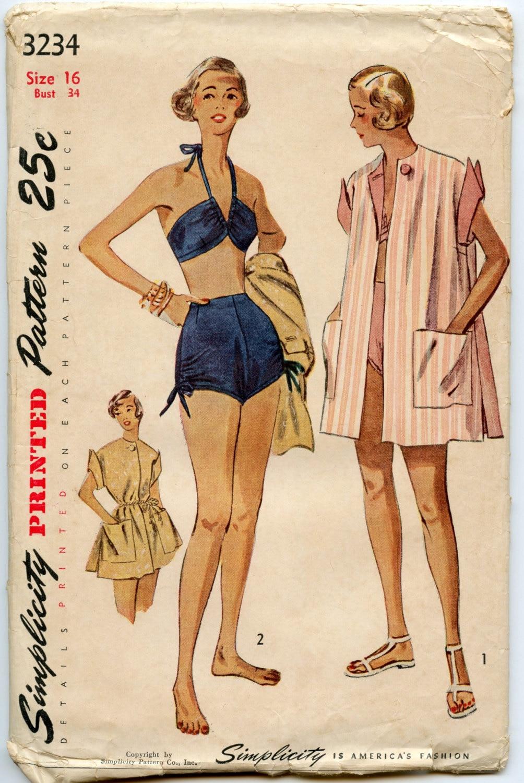 1950s Vintage Sewing Pattern Simplicity 3234 Misses Bathing