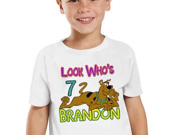 Customized Scooby-Doo Shirt Add Name & Age Scooby-Doo Custom Birthday Party Tee