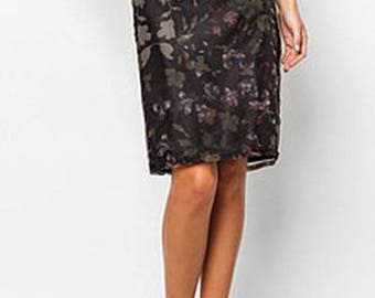 MANGO Black Floral Organza Knee-Length Skirt (Size 2)