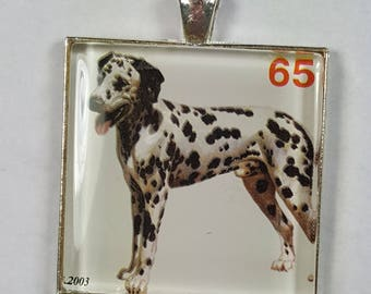Dalmatian 101 Dalmatians Disney Spotted Black and White Firehouse Dog Puppy Genuine Postage Stamp Pendant or Key Ring