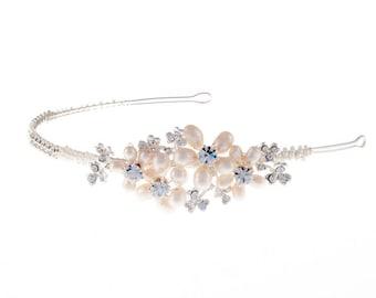 Pearl and diamante wedding side tiara, wedding tiara, freshwater pearl side tiara, side tiara, wedding tiara, diamante tiara