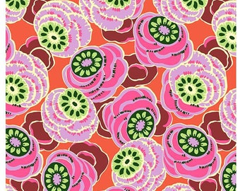 FAT QUARTER - Amy Butler Fabric, Dream Weaver, Clouded Floral, Persimmon, cotton quilting fabric