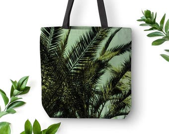 Tropical tote bag, Palm tree bag, Tropical apparel, Summer bag, Palm leaves, Beach bag, Gift for mom, Green, Market Totes, Nature bag. MG031