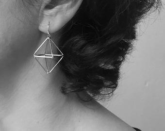 Woman Christmas, she Christmas, Earrings silver, earrings geometric, reneger she, teenager girl, she 16, girl friend xmas, geometric jewelry
