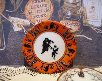 Halloween Boo Miniature Plate for Dollhouse 1:12 scale