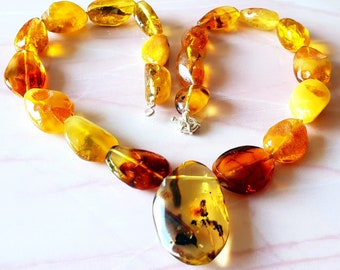 Amber Pendant Necklace Genuine Baltic Amber