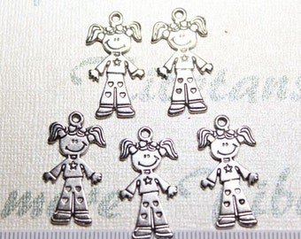 12 pcs per pack 30x10mm Girl Charm Antique Silver Finish Lead Free Pewter