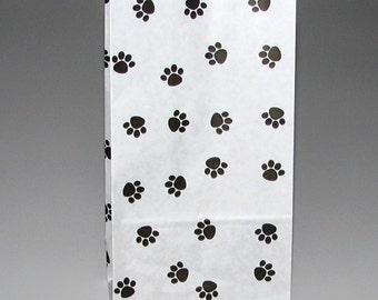 20 Paw Print Kraft Paper Bag Gusseted Pet Dog Cat treat bags sacks