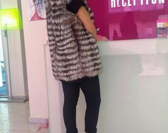 New model!Real natural Silver Fullskin Fox Fur Vest!