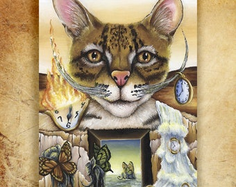 Salvador Dali Ocelot Cat Surreal Art 5x7 Archival Print