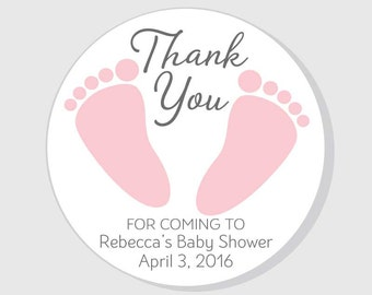 Baby Feet Thank You For Coming Baby Shower Stickers pink girl - 1.5 inch - 2 inch - 2.5 inch - 3 inch - favor - gift bag - envelope seal