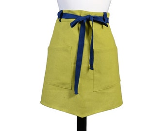 Womens Linen Retro Half Apron in Kiwi Green Straight Style Skirt with  Royal Blue Belt Loops and Ties and Two Pockets