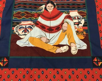 """Native American Indian Cotton Fabric Print by Joan Messmore for Cranston Print Works  44"""" ONE YARD ONLY- Southwest cotton fabric, tribal"""