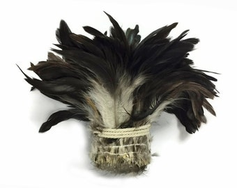 Rooster Feathers, 1 Yard - Black Bronze Natural Strung Rooster Schlappen Wholesale Feathers (Bulk) : 4220