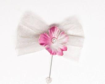 Set of 10 guest lapel pin white flower wedding rose