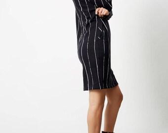 Stripes Knit Dress, Black Dresses for Women, Knit Dress, Mini Dress, Winter Dresses, Knitted Dresses, Loose Dresses, Work Wear