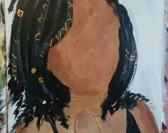 Impressionist portrait of a black woman with goddess locs