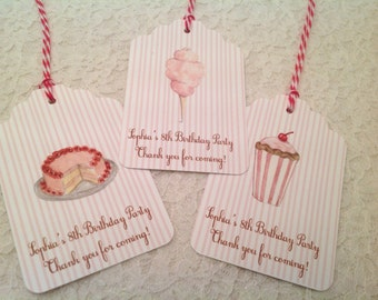 Carnival Circus Treat Favor Thank You Tags-Food Tags Labels-Set of 12