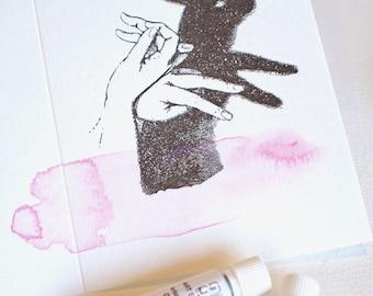Toute occasion carte, lièvre, lapin, peint à la main, typographie, bel animal, marionnette à la main, carte de voeux de luxe, carte de lavis à l'aquarelle