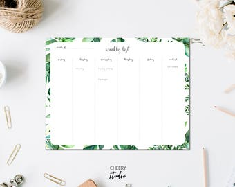 Modern Tropic Leaf Minimal Weekly Organizer Dateless Planner Calendar Wall, Desk, Frame Printable Reusable Gift // Letter Size - 8,5 x 11 in