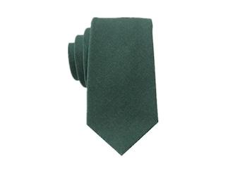 Dark Green Linen Tie.Mens Green Tie. Green Skinny Tie.Wedding Tie.Groomsmen Tie.Gift