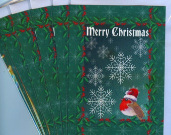 6 x robin redbreast bird holiday Christmas greeting cards holly snowflakes snow falling santa hat green red from Susan Alison w/c painting