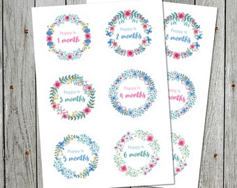 Personalised Baby Month Flower Stickers / Floral Milestone Labels
