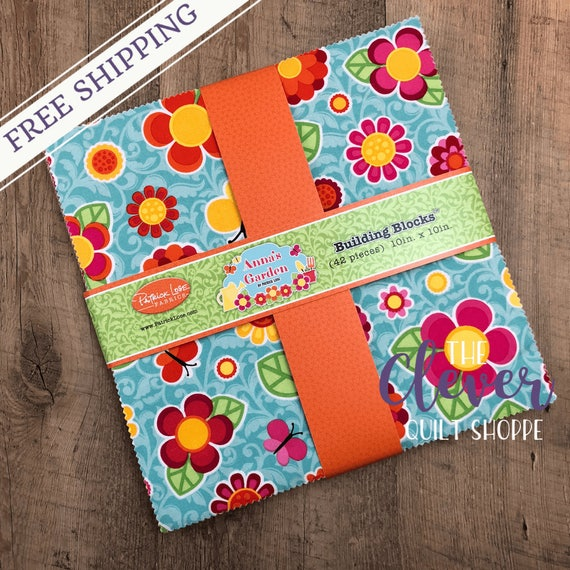 Layer Cake, 10 in Squares, Anna's Garden, Patrick Lose, Floral, Pink, Orange, Green, Blue, Yellow, Child, Spring, Garden, Lady Bug, Precut
