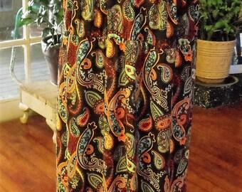 2XX Jersey Knit Dress/ Macrame Trim Paisley Print Maxi Dress/ Retro Poly Spandex Plus Size Dress/ Shabbyfab Funwear