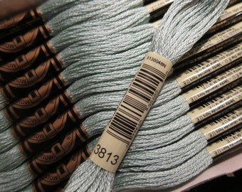 Light Blue Green #3813, DMC Cotton Embroidery Floss - 8m Skeins - Available in Single Skeins, Larger Pkgs & Full (12 skein) Boxes