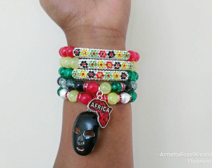 Rainbow Beaded Bracelet Stack  Cracked Glass Stretch Bracelet's, African Bracelet Stack